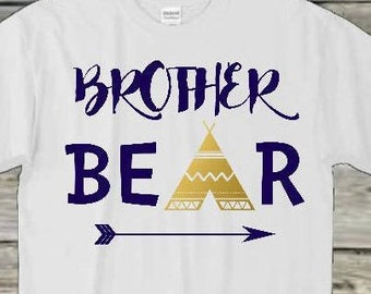 Brother Native American Bodysuit, Brother Bear TShirt, Brother T-Shirt, Arrow Brother Gift, Family TShirts, Bear Family Tshirts