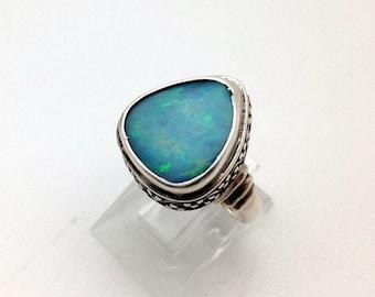 Australian Opal Ring, Sterling Silver
