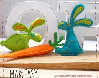 Rabbits and Carrot - Felt pattern and Tutorial - DIY - Making pattern PDF - Plushie