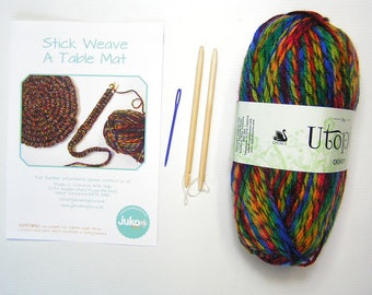Stick weaving kit to Make a Multi Coloured  Table Mat