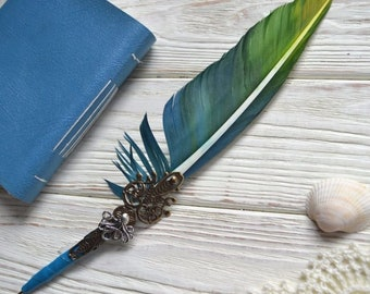Quill Pen Raven's Wing Ink Dip Porcupine Quill Feather Pen and Hematite steampunk Distressed feather
