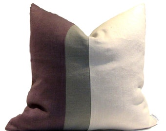 Kravet Plum Gray Natural Linen Pillow Cover