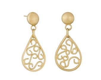 Corazon by Fedha - teardrop filigree dangles in 24 carat gold-plated silver, stud fastening, brushed finish, bohemian, contemporary