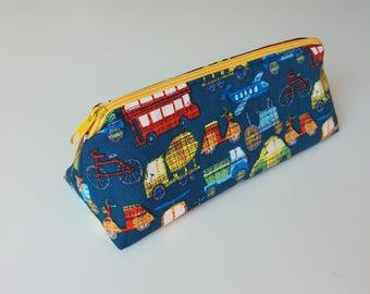 """Federmäppchen, Stiftemäppchen, Mäppchen, Etui, Schreibetui, Schuletui, Design """"Fahrzeuge"""" - back to school, Schulanfang, Schultüte, Schulset"""