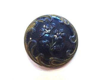 Antique Button VINTAGE Cobalt Blue Glass Button Pictorial Floral One (1) Art Nouveau Deco 23mm NBS Medium Jewelry Sewing Supplies (A222)