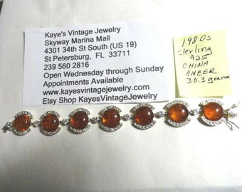 1980s Sterling Silver Amber with Cubic Zirconia Accent 7 inches long 20mm