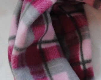 ON SALE // Women's Fleece Infinity Scarf // Blush, Pink, Gray // Plaid // Gifts for Her