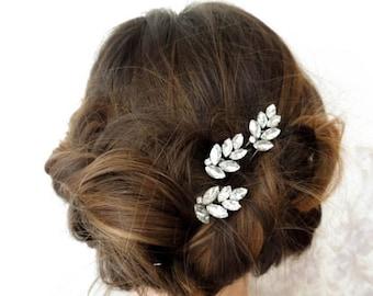 Set of 3 hair pins bridal hair pins leaf hair pins pearl hair pins wedding hair pins crystal hair pins bridal hairpiece leaf bridal comb