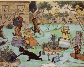 1983 print cats gardening cartoon by louis wain