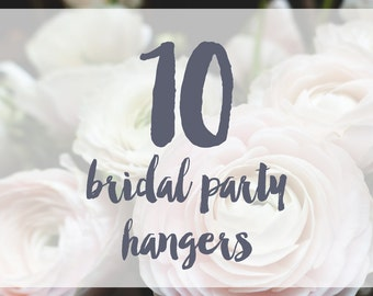 10 Bridal Party Hangers / Bridesmaid Hangers / Maid of Honor / Mother of the Bride / Wire Name Hangers / 5 Hanger Colors / 14 Wire Colors