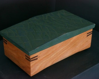 Milk painted and textured lift lid box