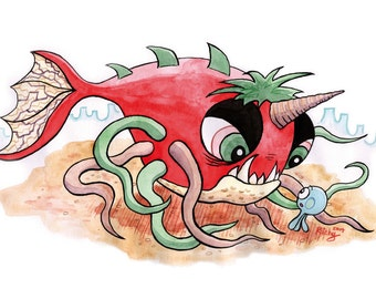 A4 Print: Lucy the Octopus and a Giant Sea Monster