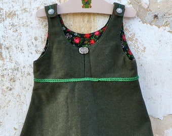 Vintage 1970/70s Authentic Girl Dirndl Tyrol Austria german pinafore Dress  military green wool felt fabric size 4 years