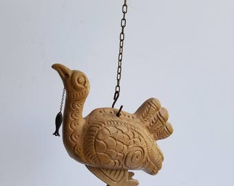 Hanging Folk Style Ceramic Bird Chicken or Turkey? Moving Legs with Fish on Chain at Mouth