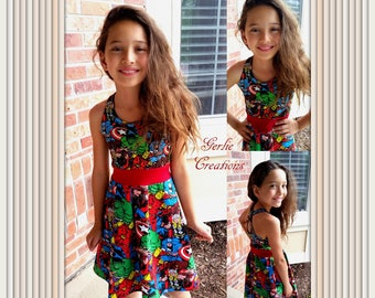 Girls MARVEL Dress, Girls Dress, Captain America, Iron Man, Hulk, Thor, DC Comics, Marvel - Available in  2y - 12y