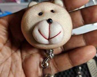 Cute Soft Teddy badge reel