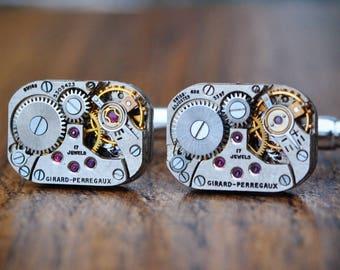 Girard Perregaux Watch Movement Cufflinks - Steampunk Silver Vintage Wedding Groom Gift Mens Christmas Present