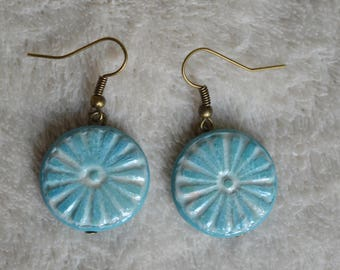 Earrings Fimo / polymer clay - round / light - blue circles texture and white acrylic paint