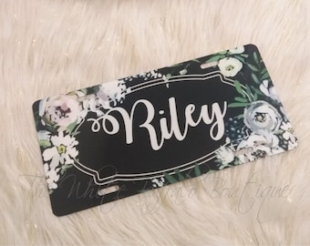 Floral Monogrammed license plate, shabby chic, car accesories, truck accesories, car tag, front plate, vintage rose, matching keychain