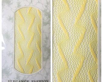1980s yellow medium tall NOS fisnets lace tights yellow lightning bolt print lace stockings yellow medium VTG 80s nylons punk rocker tights