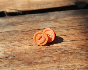 Orange button studs // glitter // shimmer // vintage buttons // eco gifts