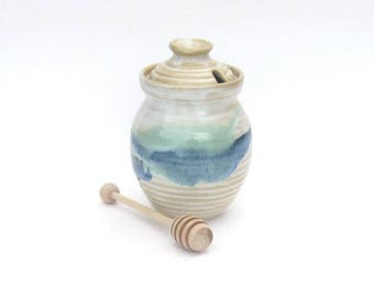 Honey Pot with Dipper - Rio Grande Glaze