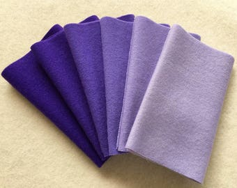 """Hand Dyed Felted Wool Gradation, PANSY, Value Gradient in Royal Purple and Lavender, 6 pcs. 6.5"""" x 16"""" Each"""