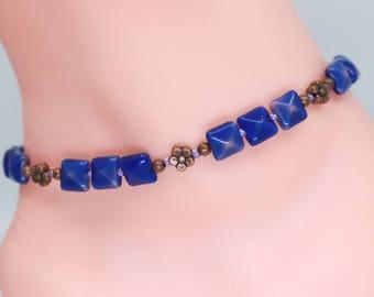 Surfer ankle bracelet, blue anklet, girlfriend gift, Mothers day gift