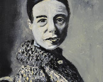 Simone de Beauvoir Painting Print Black & White Oil Portrait Painting Print. Gift For Her Apartment. Living Room Wall Decor