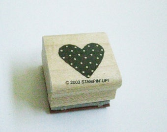 Heart Paper Craft Rubber Stamp Small Quilt Square Heart Wood Mount Destash Craft Supply Scrapbooking Planner Quilter Collage Stamping Craft