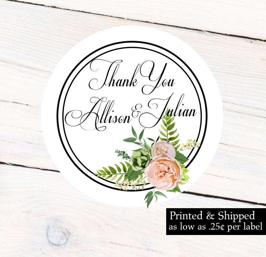 Wedding Personalized Sticker, Bridal Shower -Thank You Labels ...