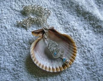 Sea glass necklace. Beach glass necklace. Sea glass jewelry.