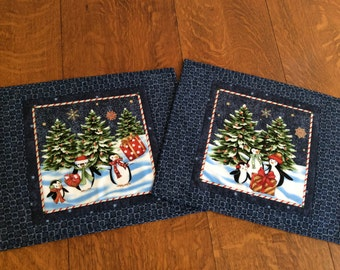 """Set of two 18"""" x 14 1/2"""" Christmas placemats"""