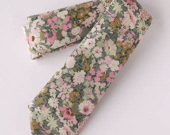 Floral Liberty tie - Liberty tana lawn Thorpe green and pink tie - wedding tie -pink and green floral tie