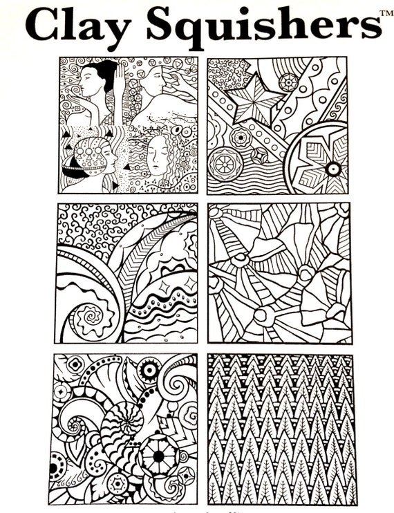 Clay Squishers #17, rubber stamp titled Art Deco enjoy the stylings that we associate with art deco