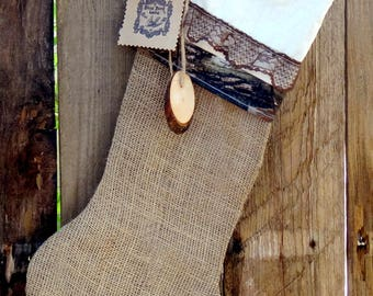 "Ladies Camo Hunters ""Real Tree"" Burlap Christmas Stocking with Cream Cuff with Real Tree and Brown Lace Trim."