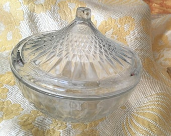 Clear cut glass candy dish
