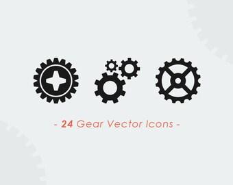 24 Gears & Wheels Vector Set