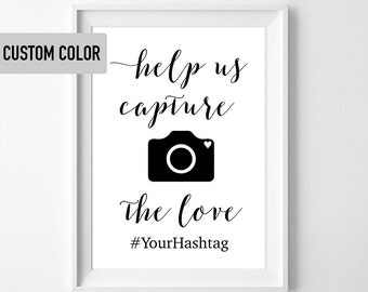 "Hashtag Sign ""Capture the Love"" for Parties, Weddings, Showers"