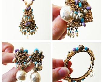 Vintage Miriam Haskell Parure | Miriam Haskell Jewelry Set | Miriam Haskell Necklace Bracelet Brooch Earrings |