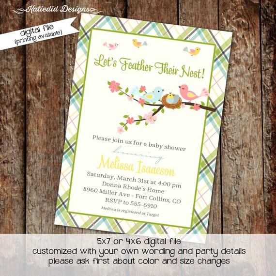 Surprise Gender reveal co-ed baby shower baby sprinkle invitation floral chic invite pastel green plaid baby bird nest 1408 Katiedid designs