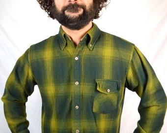 Vintage 80s Wool Western Lumberjack Button Up Plaid Shirt - Ponderosa
