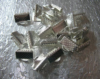 Silver Plated Ribbon Crimp Ends 40 - 10mm