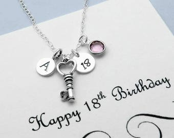 Personalized 18th Birthday Necklace For Her, Sterling Silver Initial Necklace, 18th Birthday Key Jewelry, 18th Key Charm Necklaces
