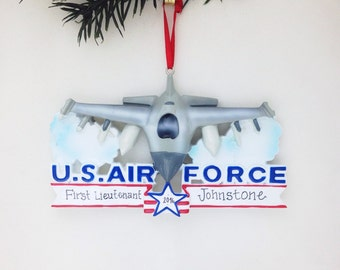 Air Force Jet Christmas Ornament / Personalized Christmas Ornament / Air Force Ornament / U.S. Armed Forces / Military