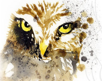 """Martinefa's Original watercolor and Ink """"Little Owl"""""""