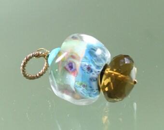 pendant- boro borosilicate lampwork bead - turquoise - beer quartz  - gold filled