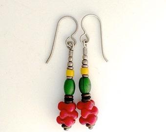Reggae Colors African Trade Bead Earrings