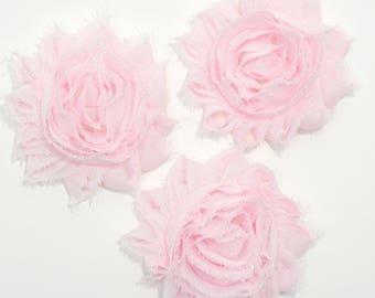 Fabric flower pink etsy 3 pcs light pink shabby rose flower diy headband pink fabric flowers pink mightylinksfo Images