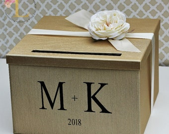 Wedding Card Box Champagne Gold Ivory Monogram Card Box Money Holder Customizable
